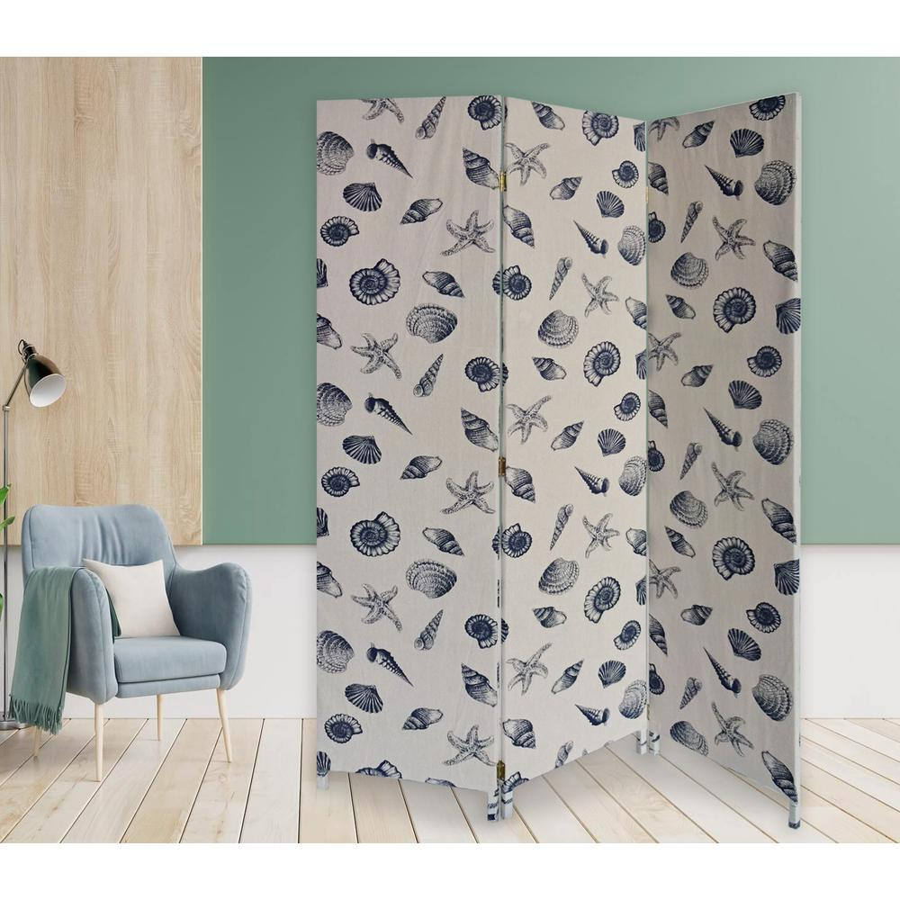 3 Panel Beige and Blue Soft Fabric Finish Room Divider - 379908. Picture 2