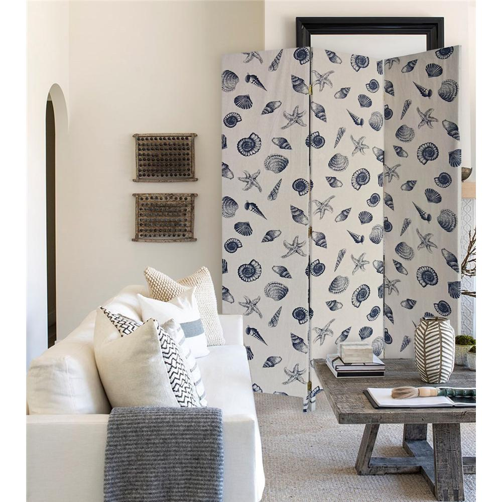 3 Panel Beige and Blue Soft Fabric Finish Room Divider - 379908. Picture 3