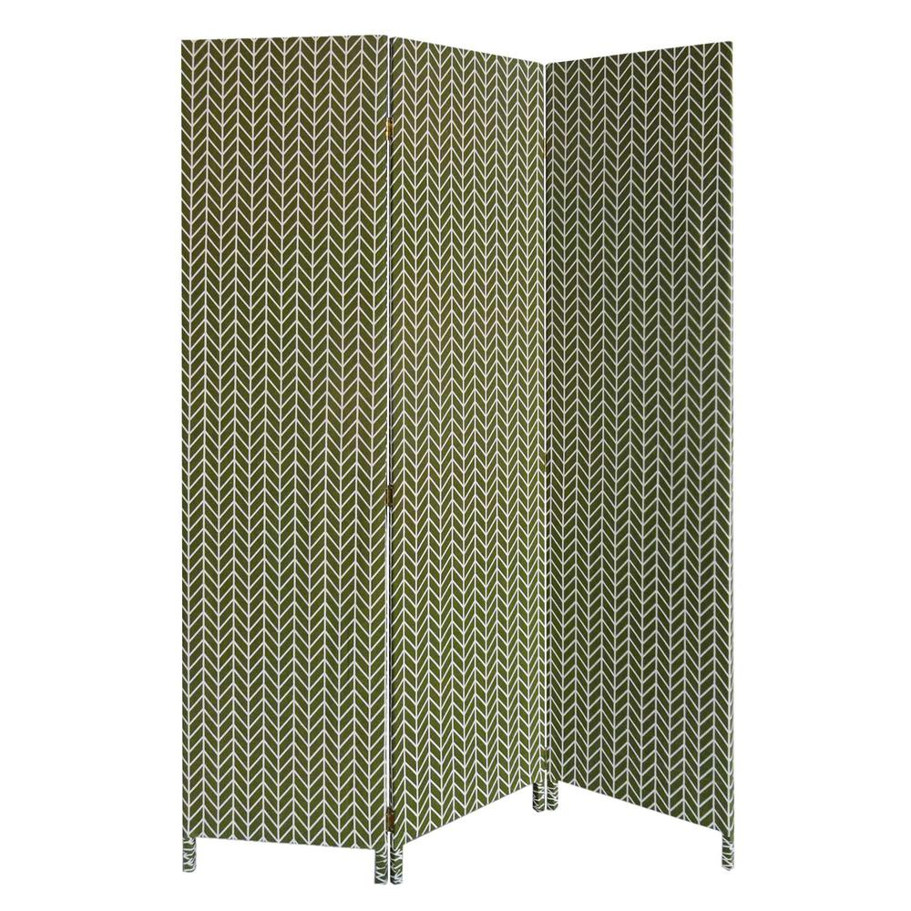 3 Panel Green Soft Fabric Finish Room Divider - 379909. Picture 1