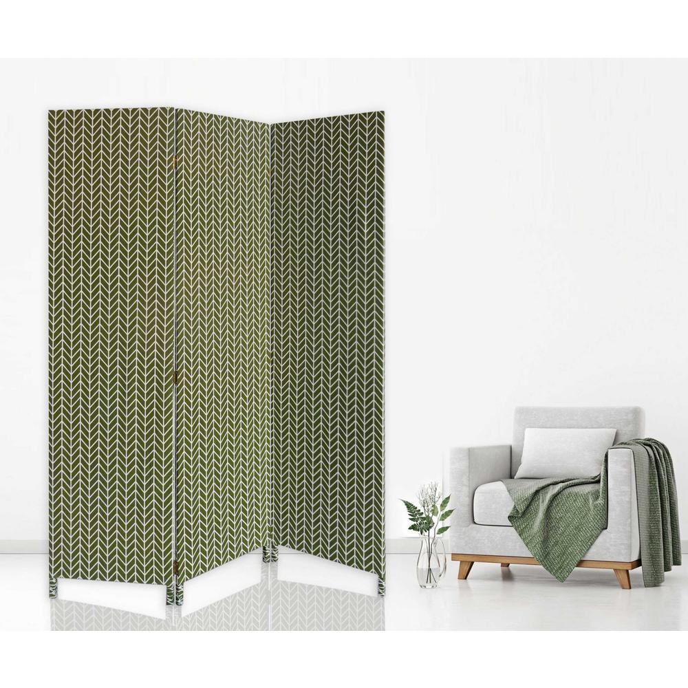 3 Panel Green Soft Fabric Finish Room Divider - 379909. Picture 2