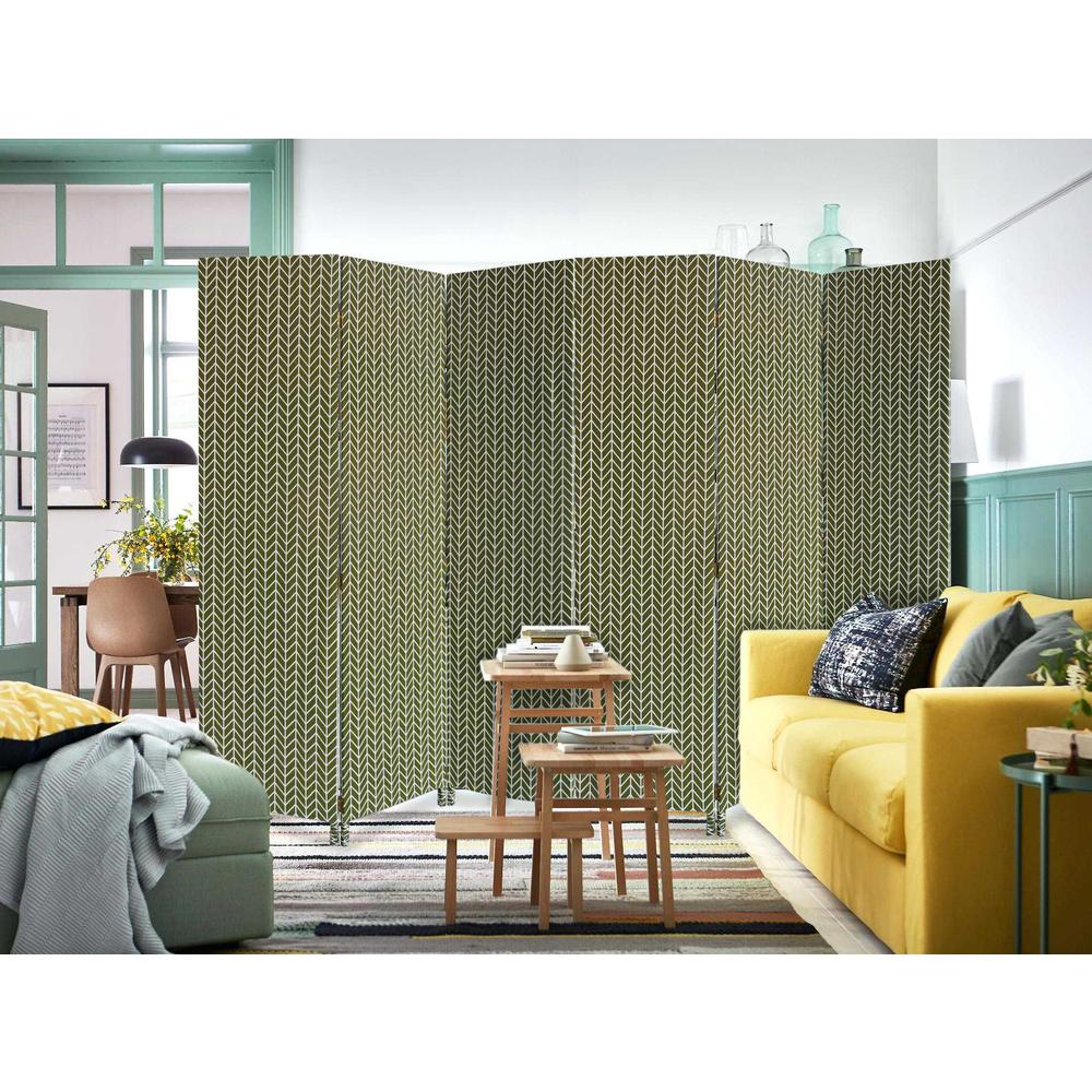 3 Panel Green Soft Fabric Finish Room Divider - 379909. Picture 3