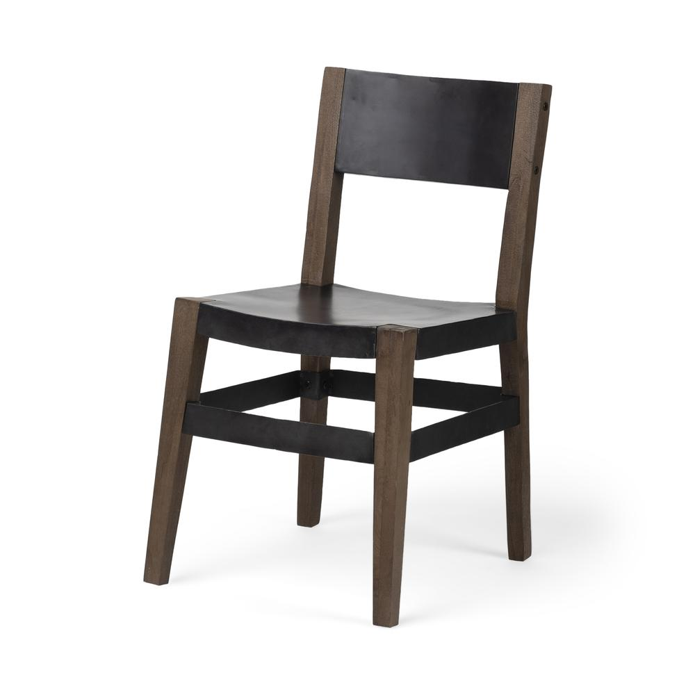Black Iron Seat with Solid Brown Wooden Base Dining Chair - 380403. Picture 1