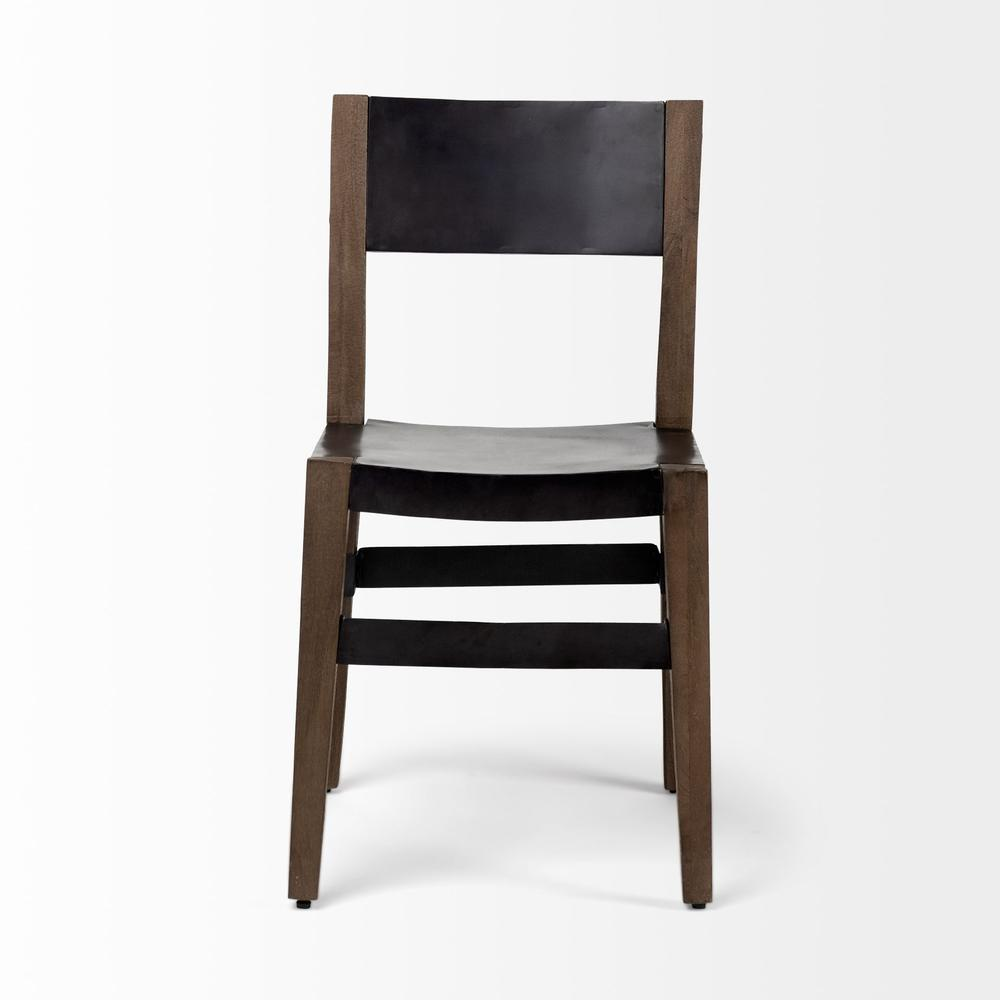 Black Iron Seat with Solid Brown Wooden Base Dining Chair - 380403. Picture 2