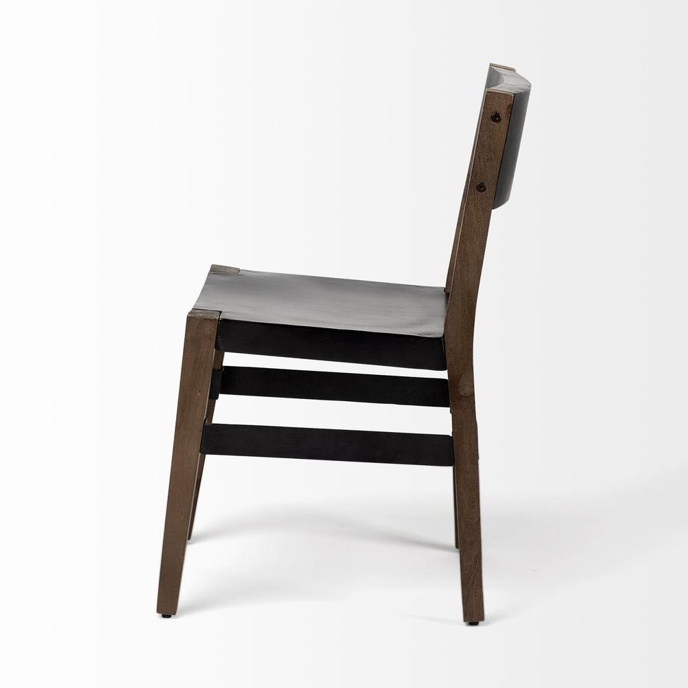 Black Iron Seat with Solid Brown Wooden Base Dining Chair - 380403. Picture 3