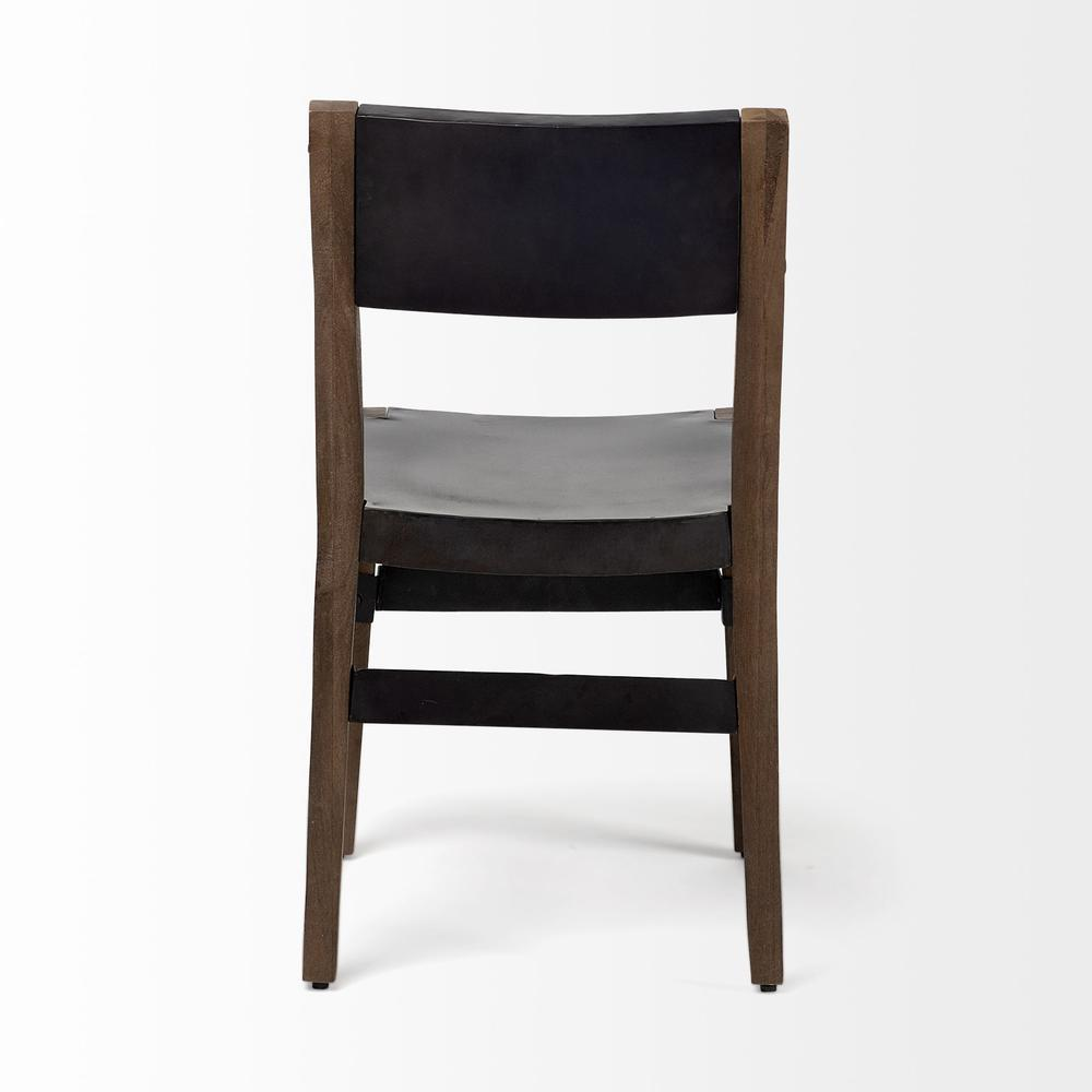 Black Iron Seat with Solid Brown Wooden Base Dining Chair - 380403. Picture 4