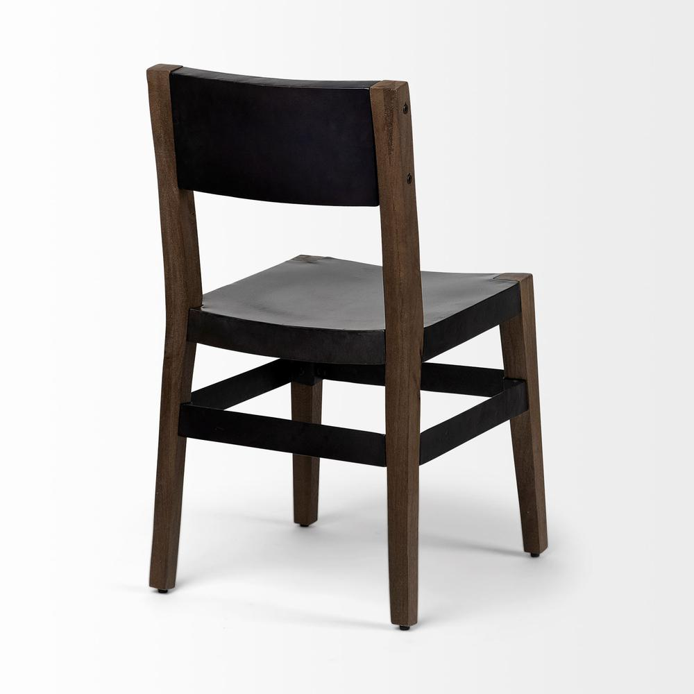 Black Iron Seat with Solid Brown Wooden Base Dining Chair - 380403. Picture 5