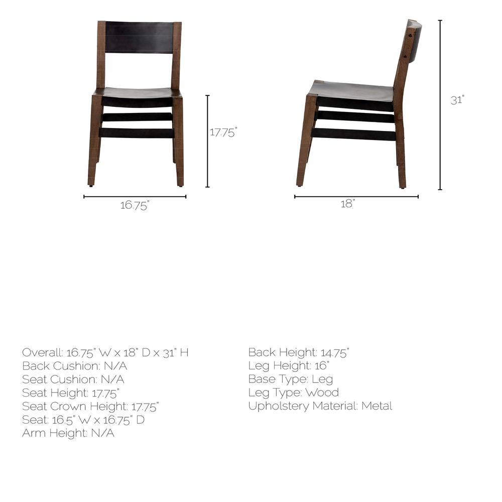 Black Iron Seat with Solid Brown Wooden Base Dining Chair - 380403. Picture 8