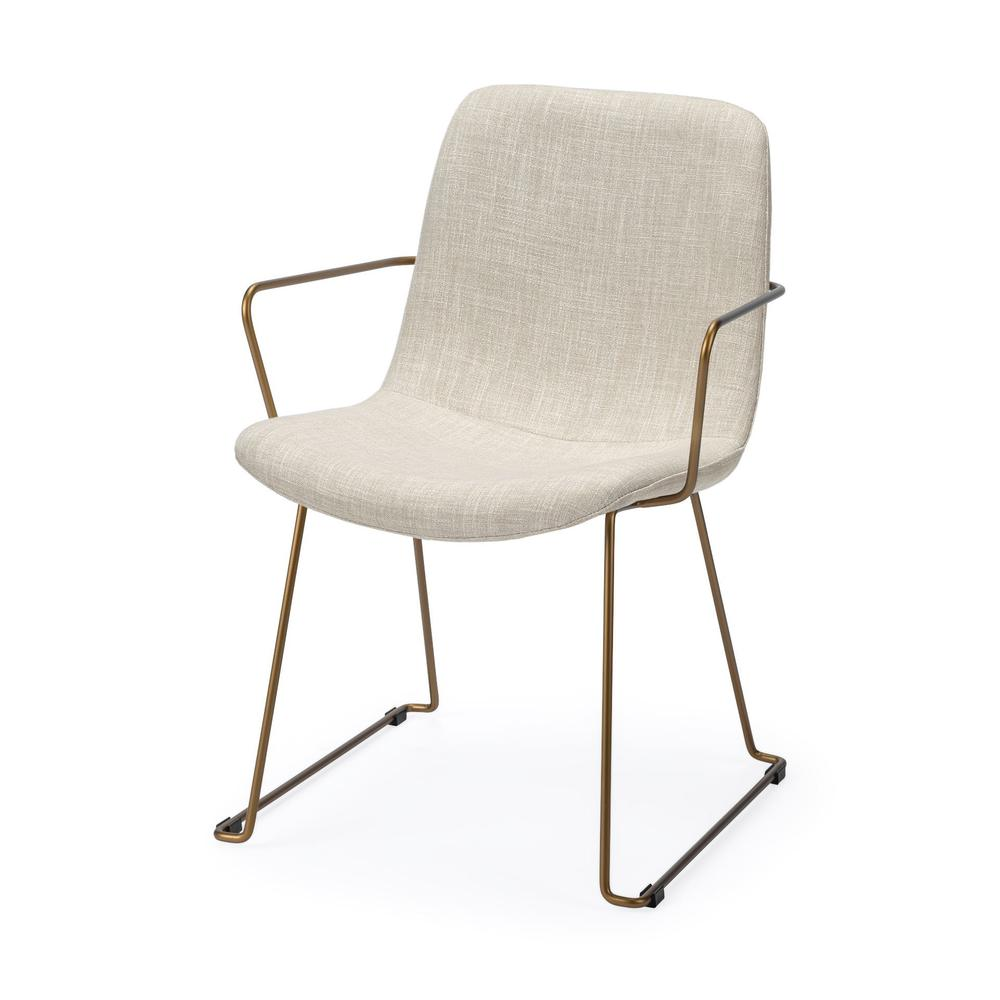 Cream Fabric Wrap with Gold Metal Frame Dining Chair - 380414. Picture 1