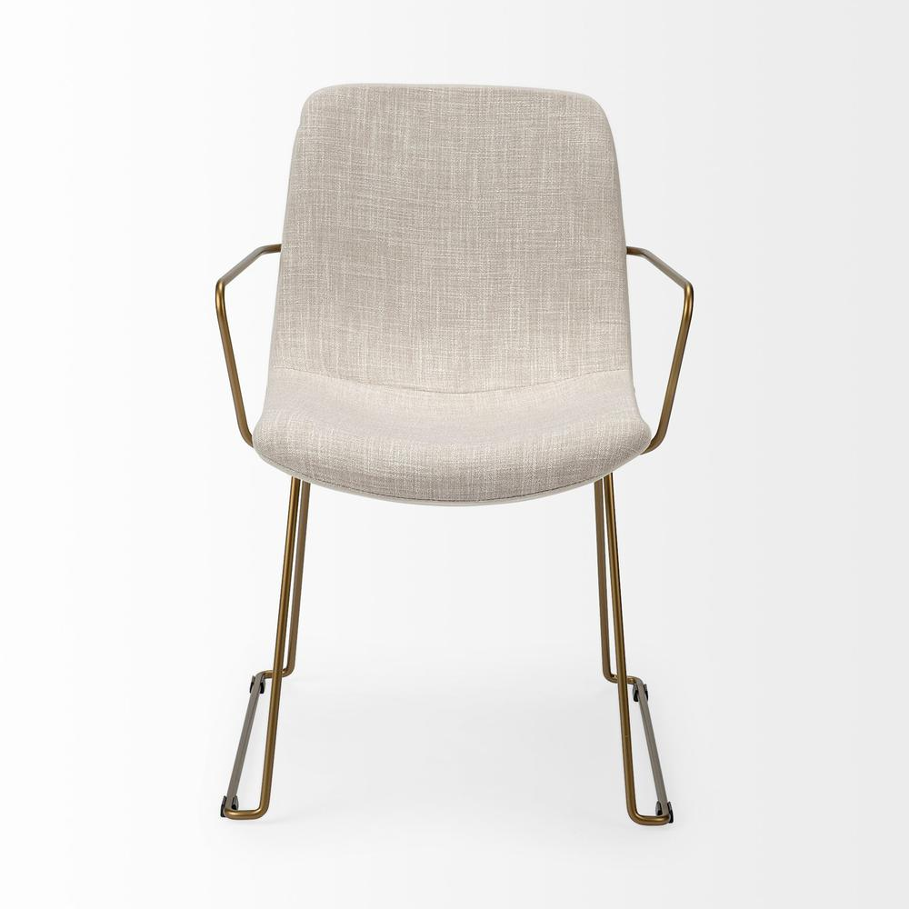 Cream Fabric Wrap with Gold Metal Frame Dining Chair - 380414. Picture 2