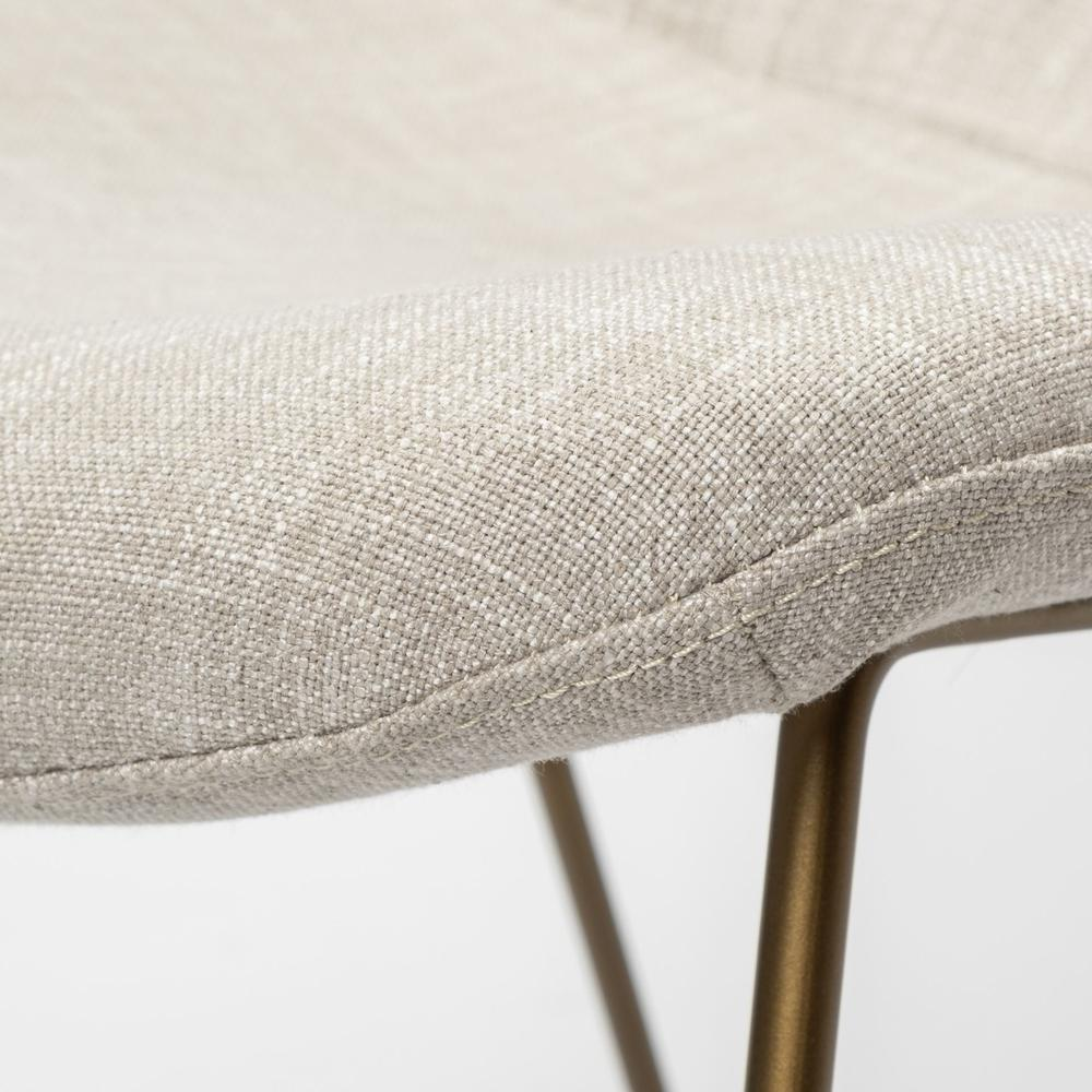 Cream Fabric Wrap with Gold Metal Frame Dining Chair - 380414. Picture 6