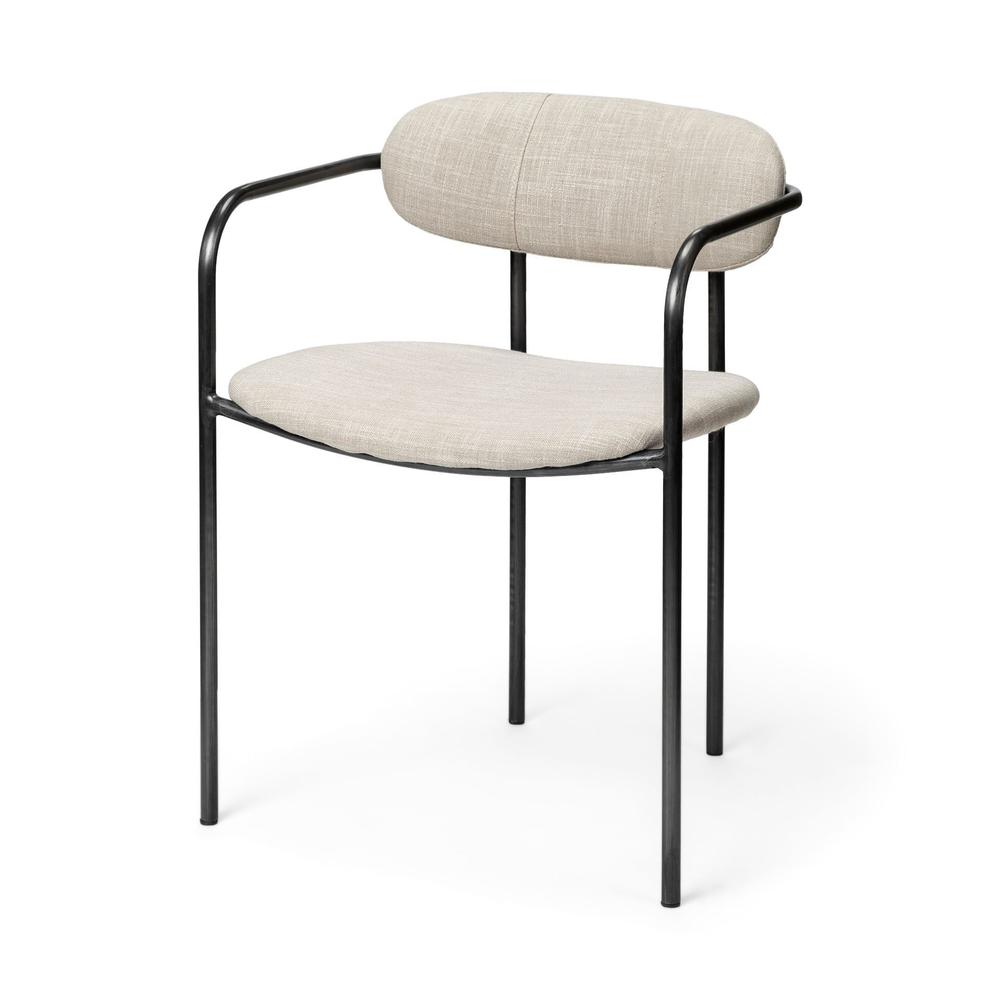 Beige Fabric Seat with Gun Metal Grey Iron Frame Dining Chair - 380428. Picture 1