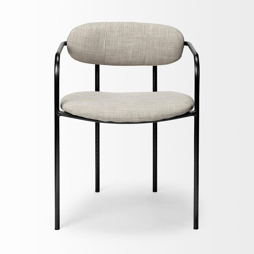 Beige Fabric Seat with Gun Metal Grey Iron Frame Dining Chair - 380428. Picture 2
