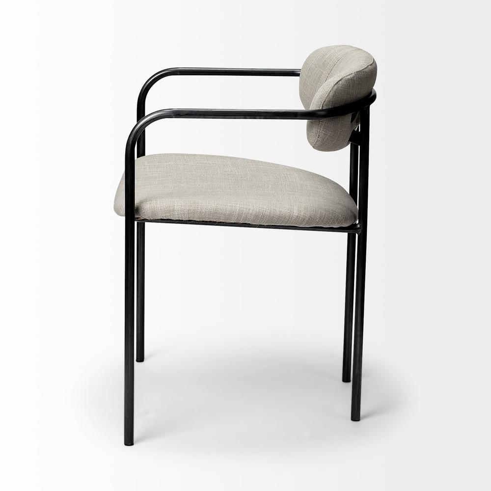 Beige Fabric Seat with Gun Metal Grey Iron Frame Dining Chair - 380428. Picture 3