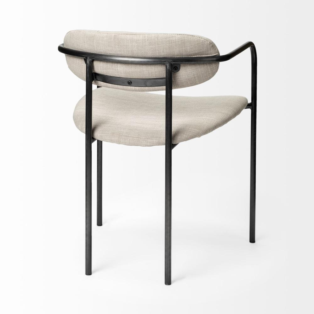 Beige Fabric Seat with Gun Metal Grey Iron Frame Dining Chair - 380428. Picture 5