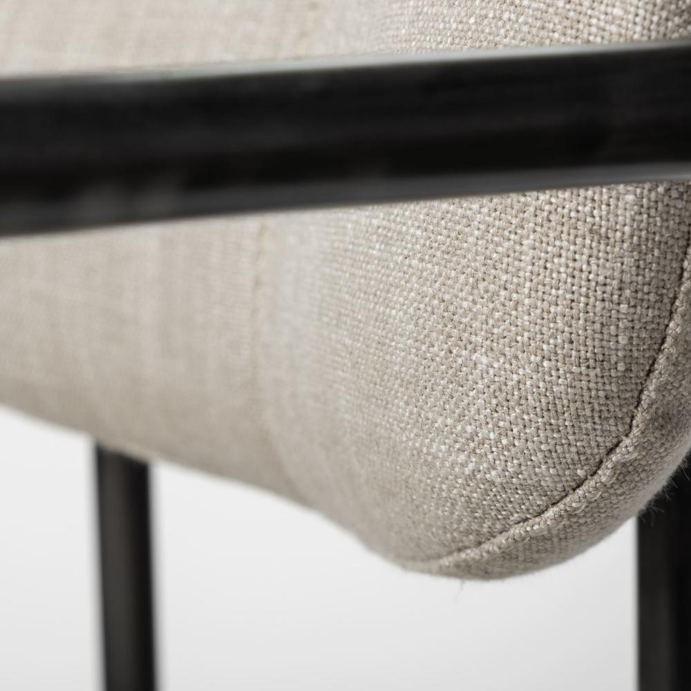 Beige Fabric Seat with Gun Metal Grey Iron Frame Dining Chair - 380428. Picture 7