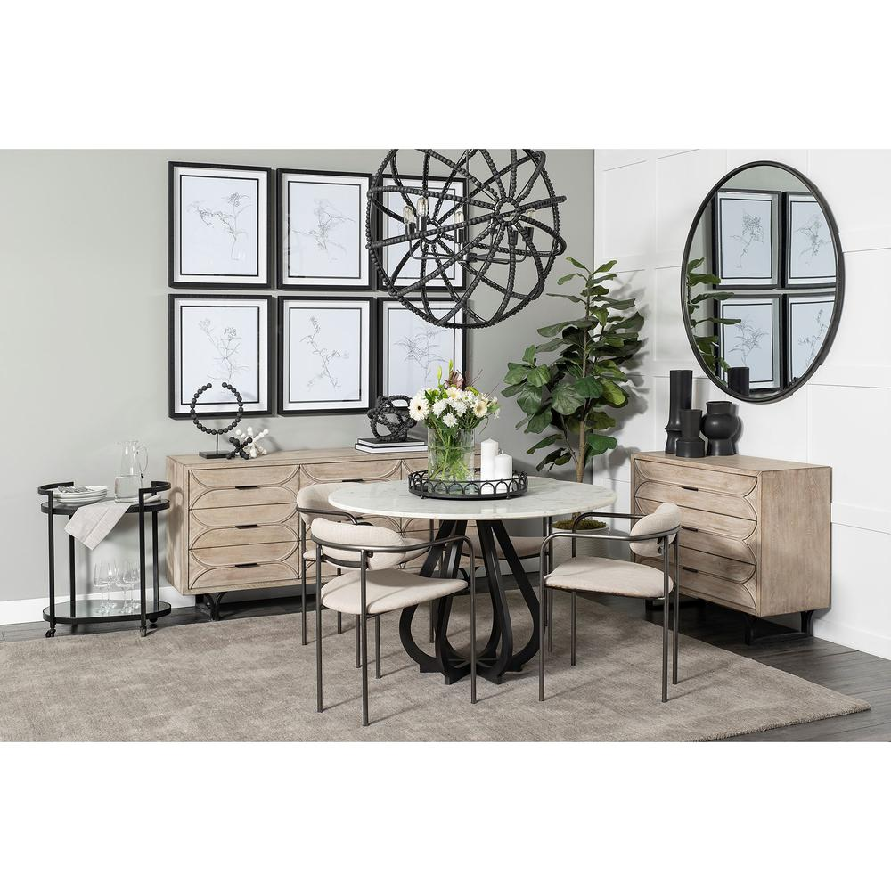 Beige Fabric Seat with Gun Metal Grey Iron Frame Dining Chair - 380428. Picture 8