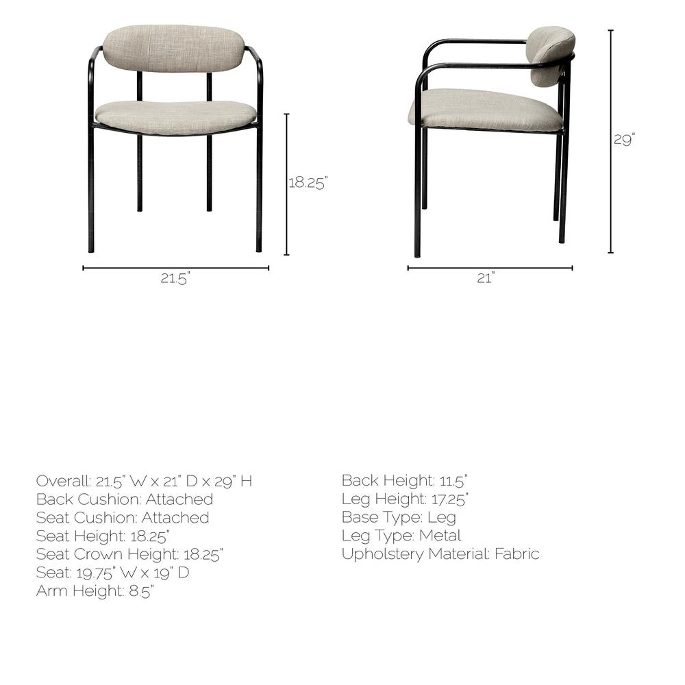 Beige Fabric Seat with Gun Metal Grey Iron Frame Dining Chair - 380428. Picture 9