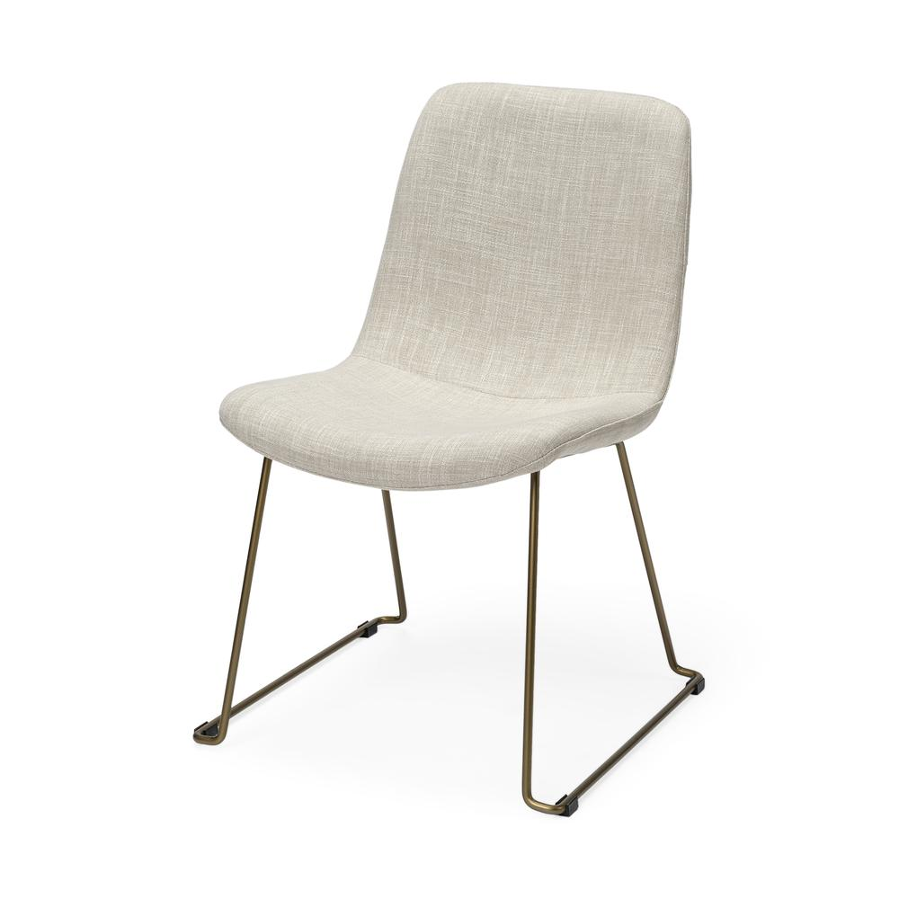 Cream Fabric Seat with Gold Metal Frame Dining Chair - 380431. Picture 1