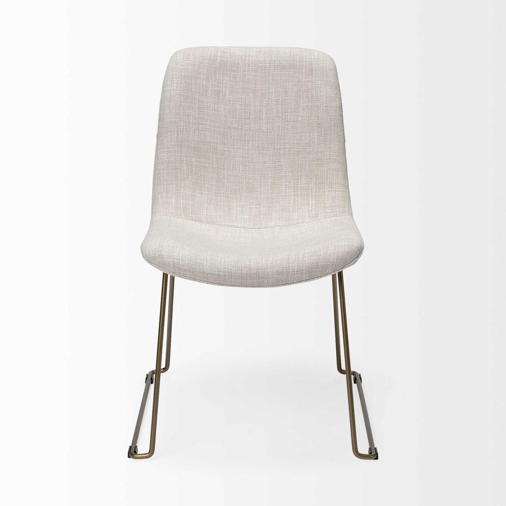 Cream Fabric Seat with Gold Metal Frame Dining Chair - 380431. Picture 2