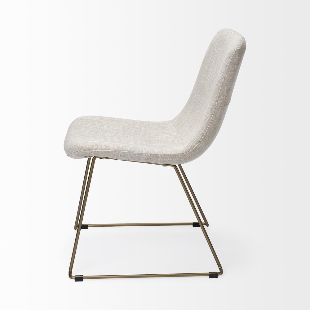 Cream Fabric Seat with Gold Metal Frame Dining Chair - 380431. Picture 3