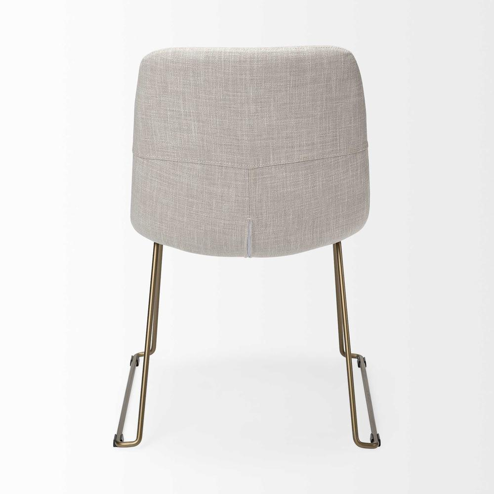 Cream Fabric Seat with Gold Metal Frame Dining Chair - 380431. Picture 4