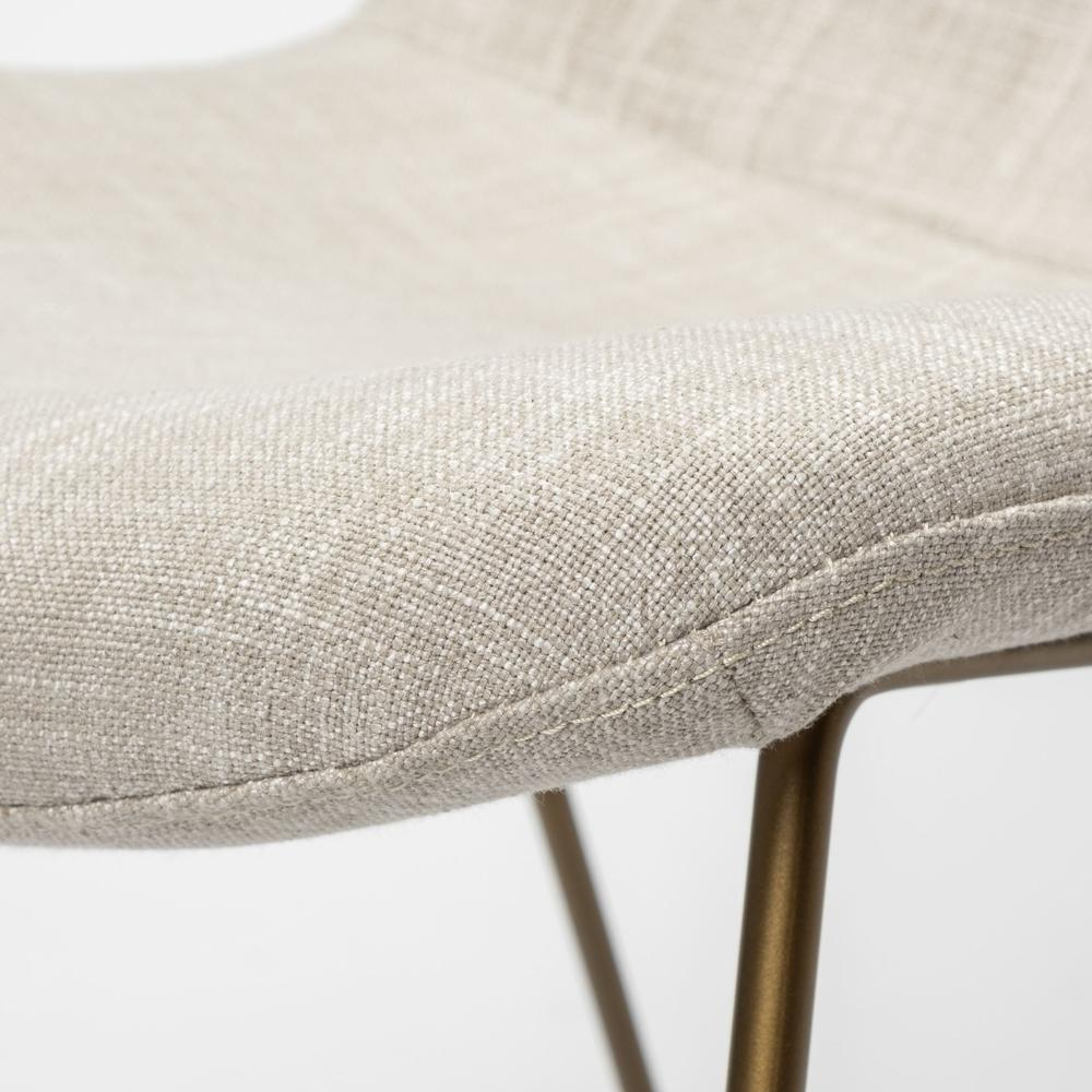 Cream Fabric Seat with Gold Metal Frame Dining Chair - 380431. Picture 6