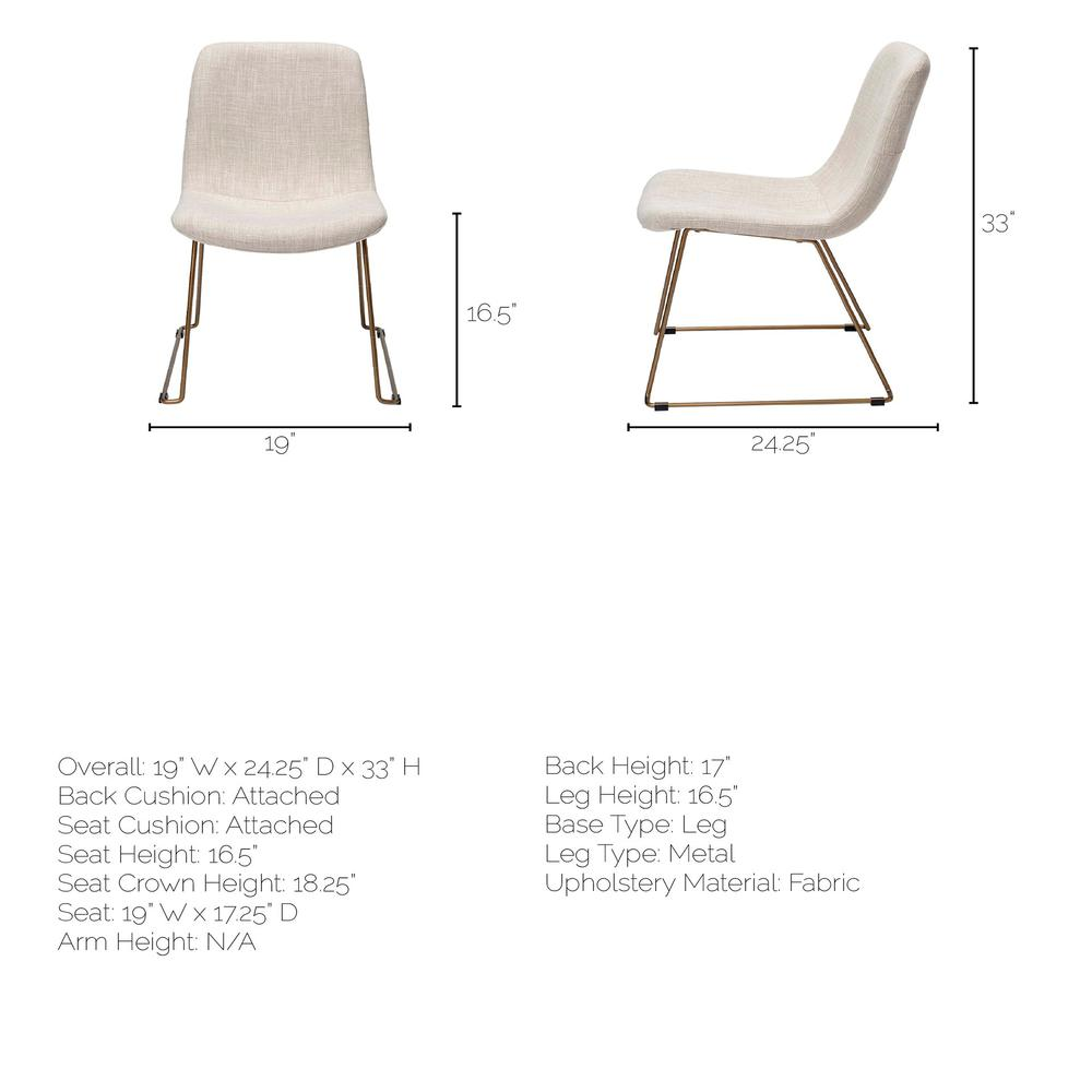 Cream Fabric Seat with Gold Metal Frame Dining Chair - 380431. Picture 8