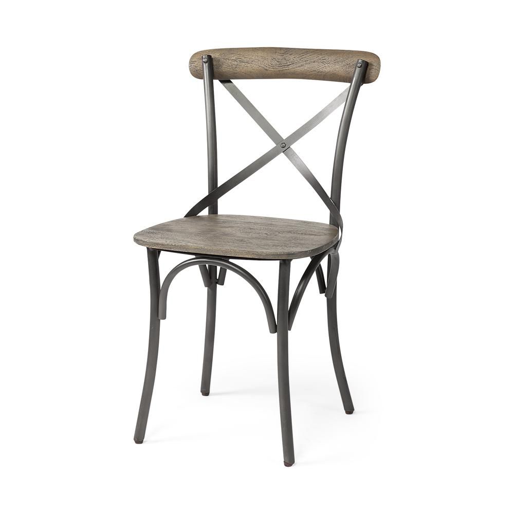 Brown Solid Wood Seat with Grey Iron Frame Dining Chair - 380438. Picture 1
