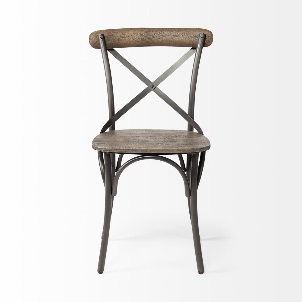 Brown Solid Wood Seat with Grey Iron Frame Dining Chair - 380438. Picture 2