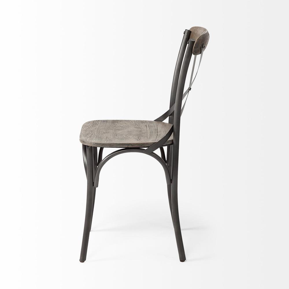 Brown Solid Wood Seat with Grey Iron Frame Dining Chair - 380438. Picture 3