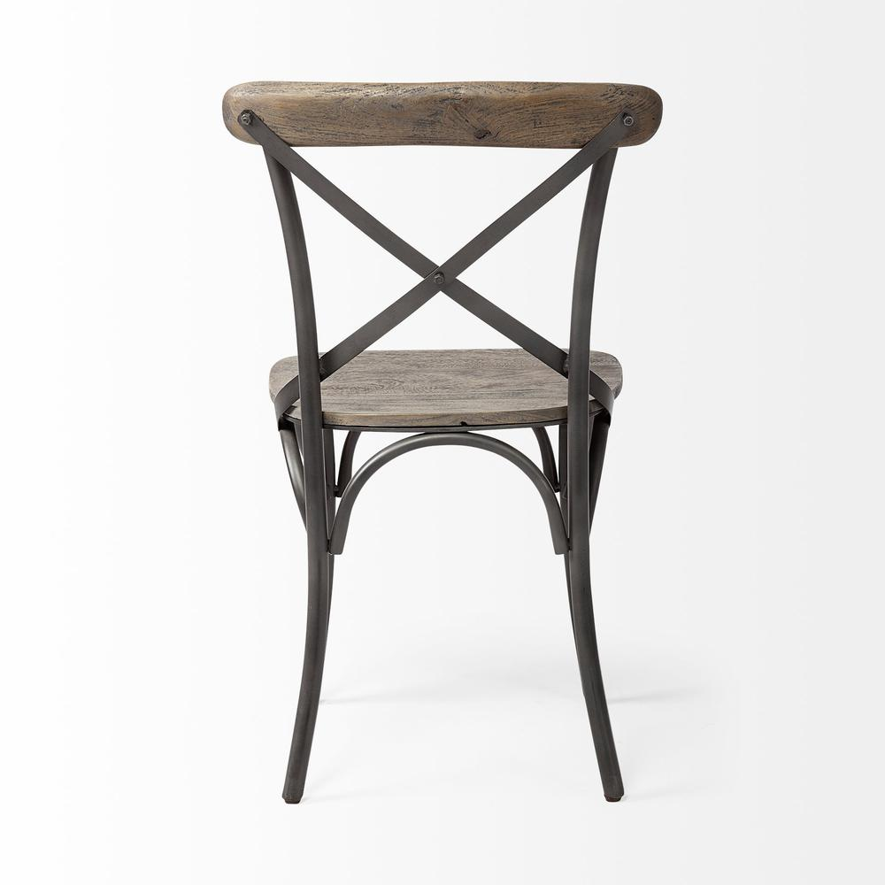 Brown Solid Wood Seat with Grey Iron Frame Dining Chair - 380438. Picture 4