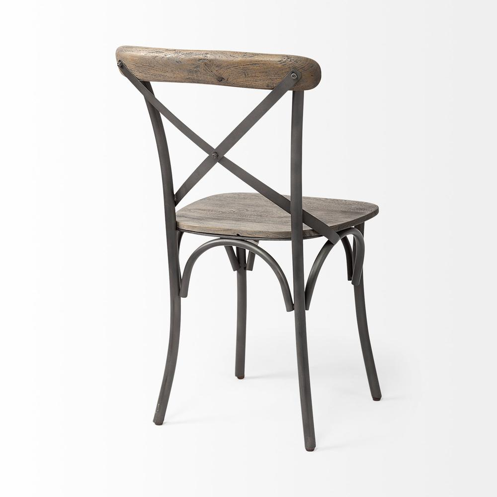Brown Solid Wood Seat with Grey Iron Frame Dining Chair - 380438. Picture 5
