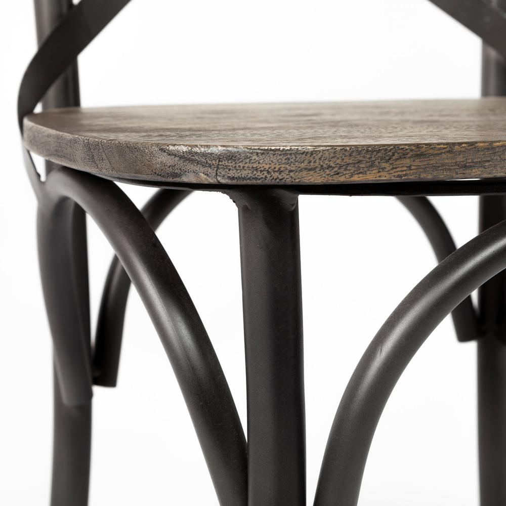 Brown Solid Wood Seat with Grey Iron Frame Dining Chair - 380438. Picture 8