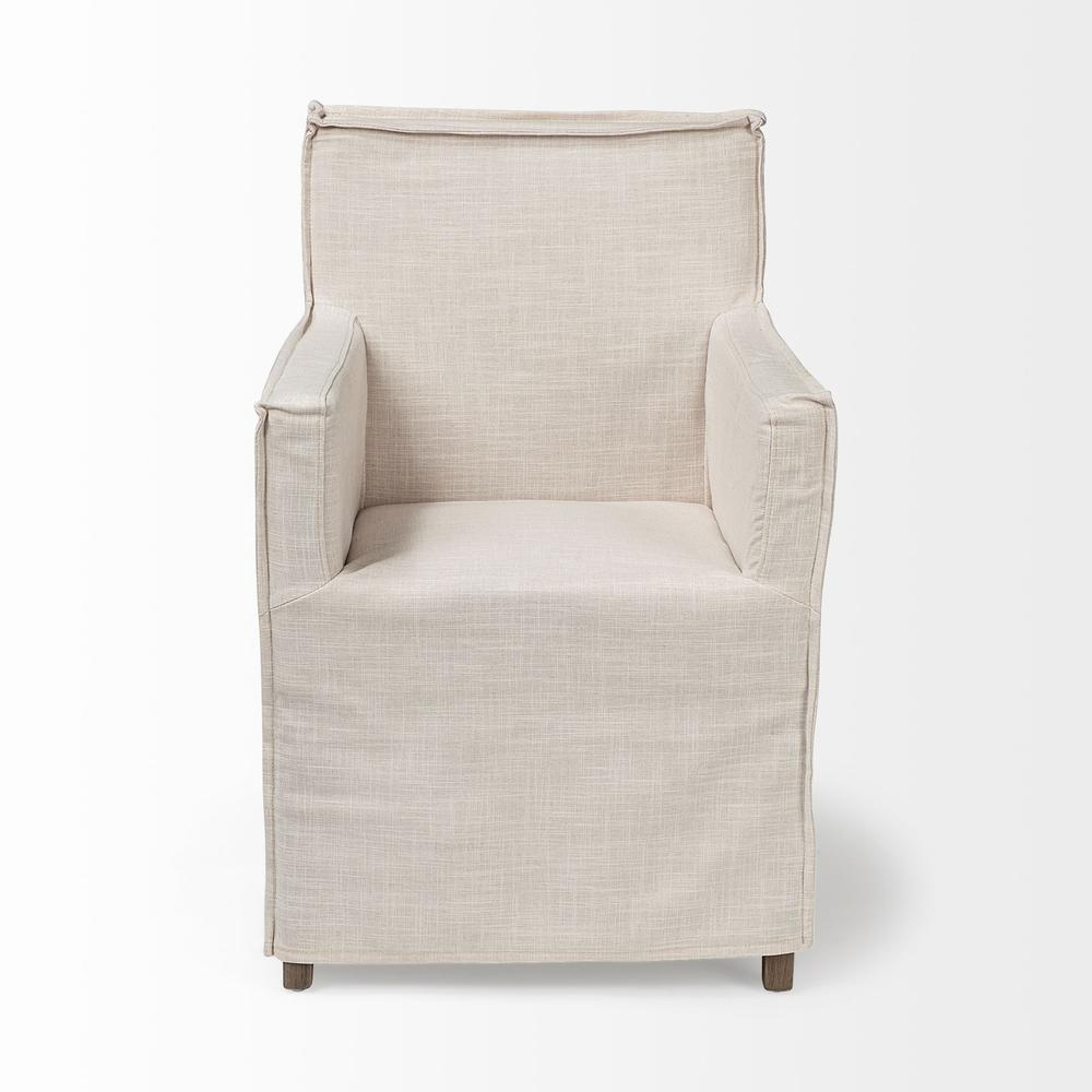 Cream Fabric Slip Cover with Brown Wood Frame Dining Chair - 380442. Picture 2