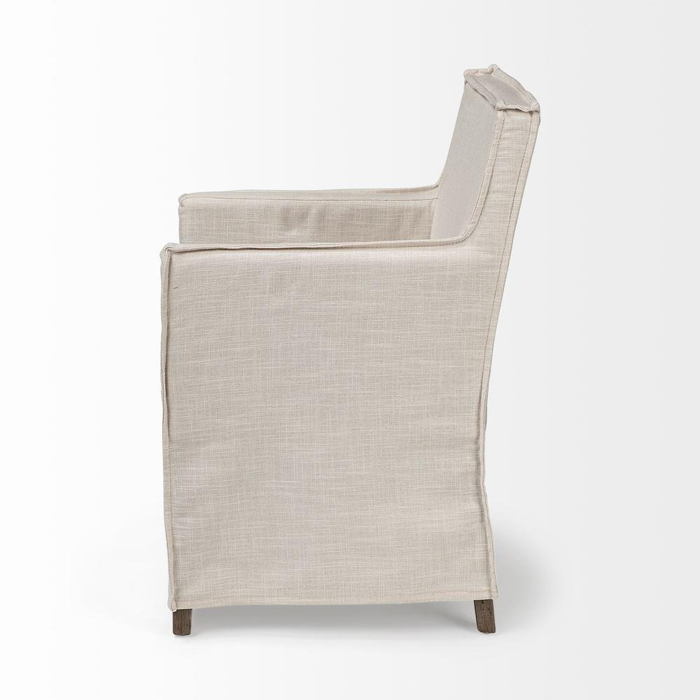 Cream Fabric Slip Cover with Brown Wood Frame Dining Chair - 380442. Picture 3