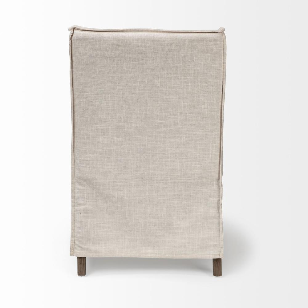 Cream Fabric Slip Cover with Brown Wood Frame Dining Chair - 380442. Picture 4