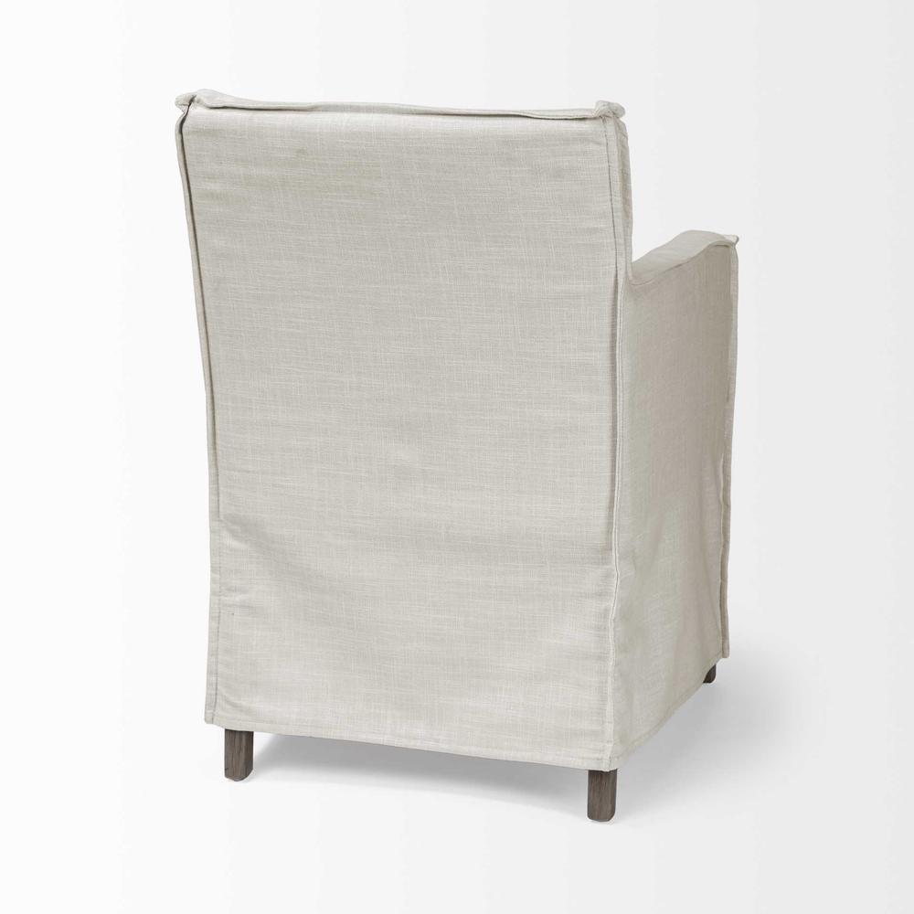 Cream Fabric Slip Cover with Brown Wood Frame Dining Chair - 380442. Picture 5