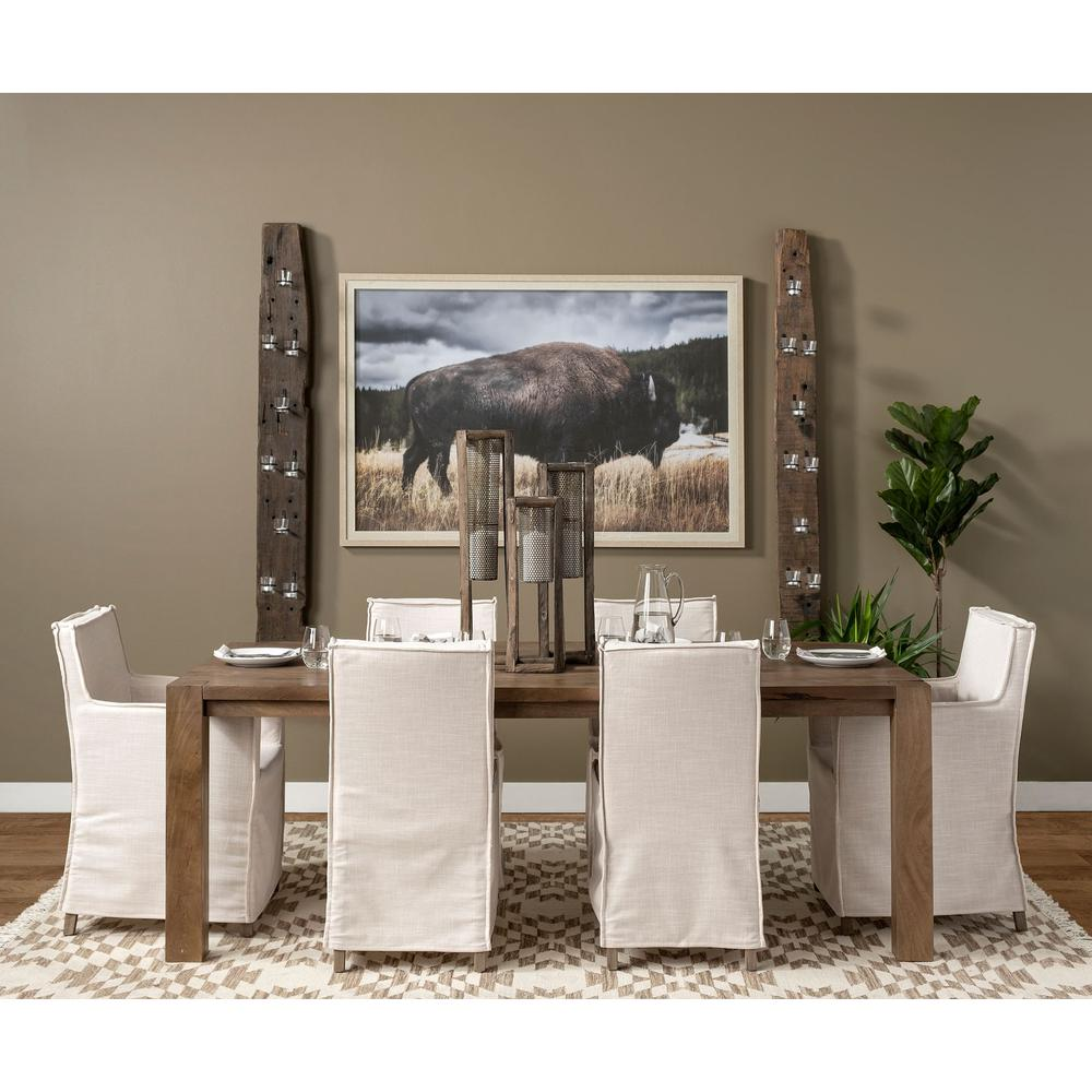 Cream Fabric Slip Cover with Brown Wood Frame Dining Chair - 380442. Picture 7