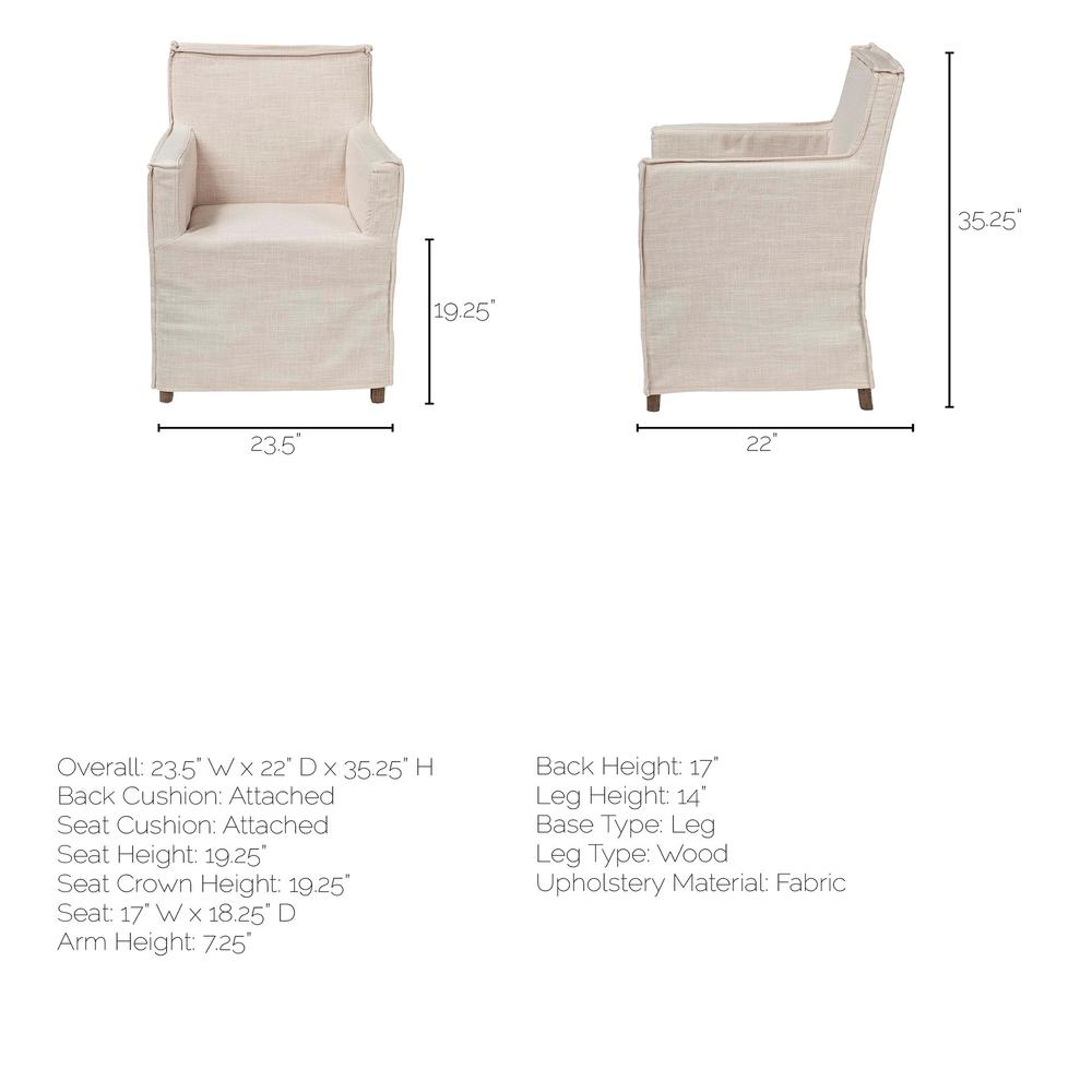 Cream Fabric Slip Cover with Brown Wood Frame Dining Chair - 380442. Picture 8