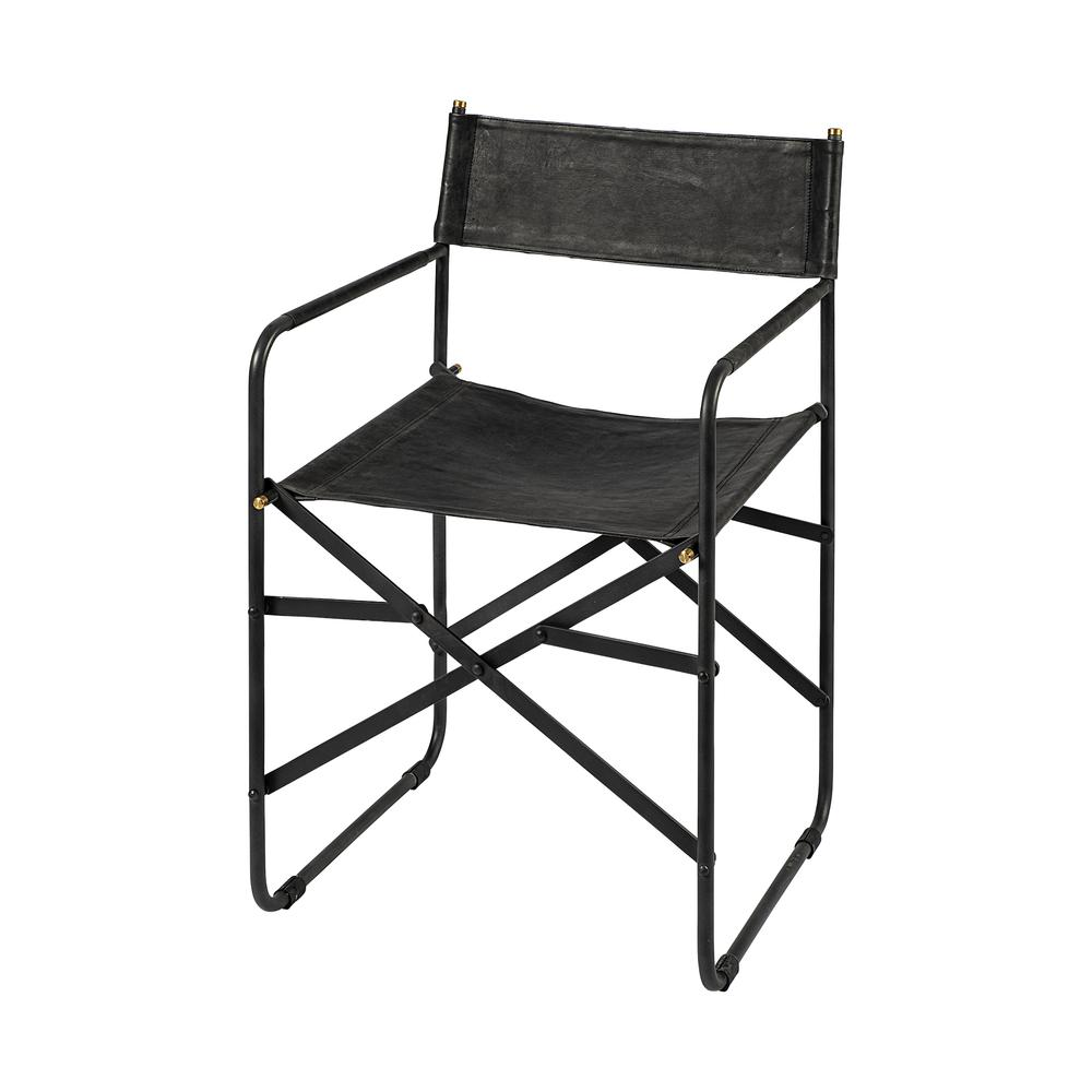 Black Leather with Black Iron Frame Dining Chair - 380448. Picture 1