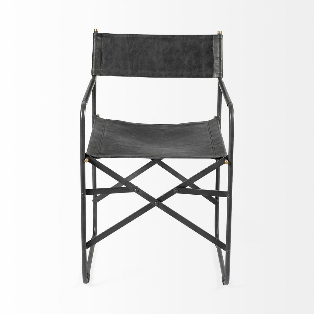 Black Leather with Black Iron Frame Dining Chair - 380448. Picture 2