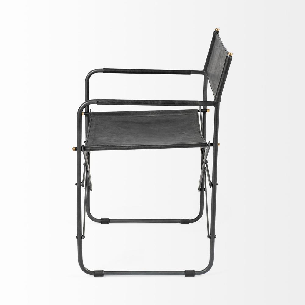 Black Leather with Black Iron Frame Dining Chair - 380448. Picture 3