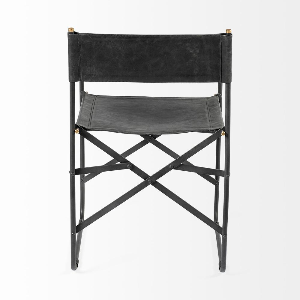 Black Leather with Black Iron Frame Dining Chair - 380448. Picture 4