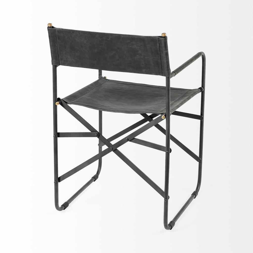 Black Leather with Black Iron Frame Dining Chair - 380448. Picture 5