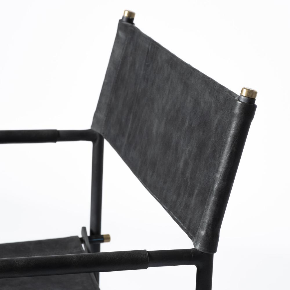 Black Leather with Black Iron Frame Dining Chair - 380448. Picture 7