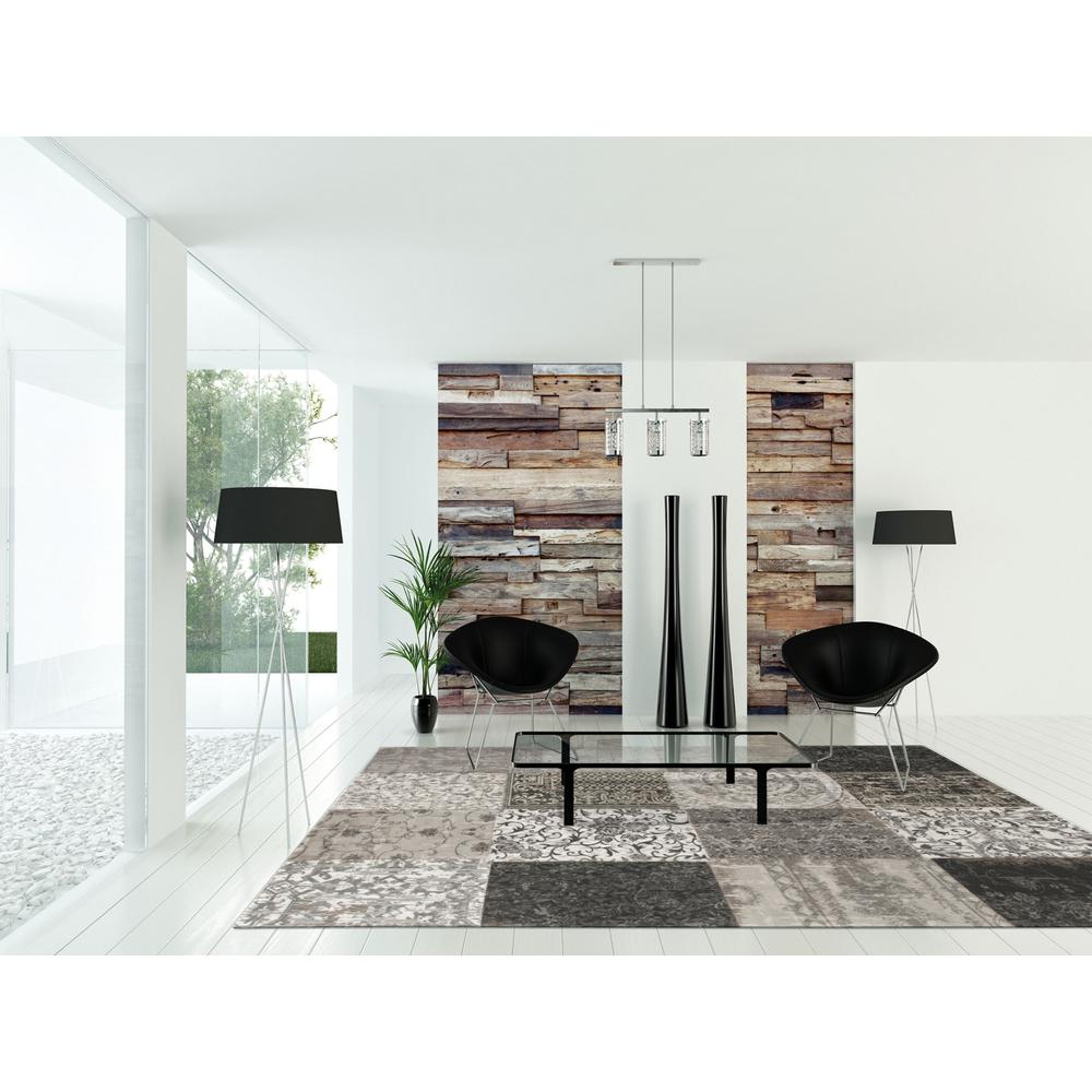 6' x 7' Black White and Grey Patchwork Design Area Rug - 380563. Picture 1