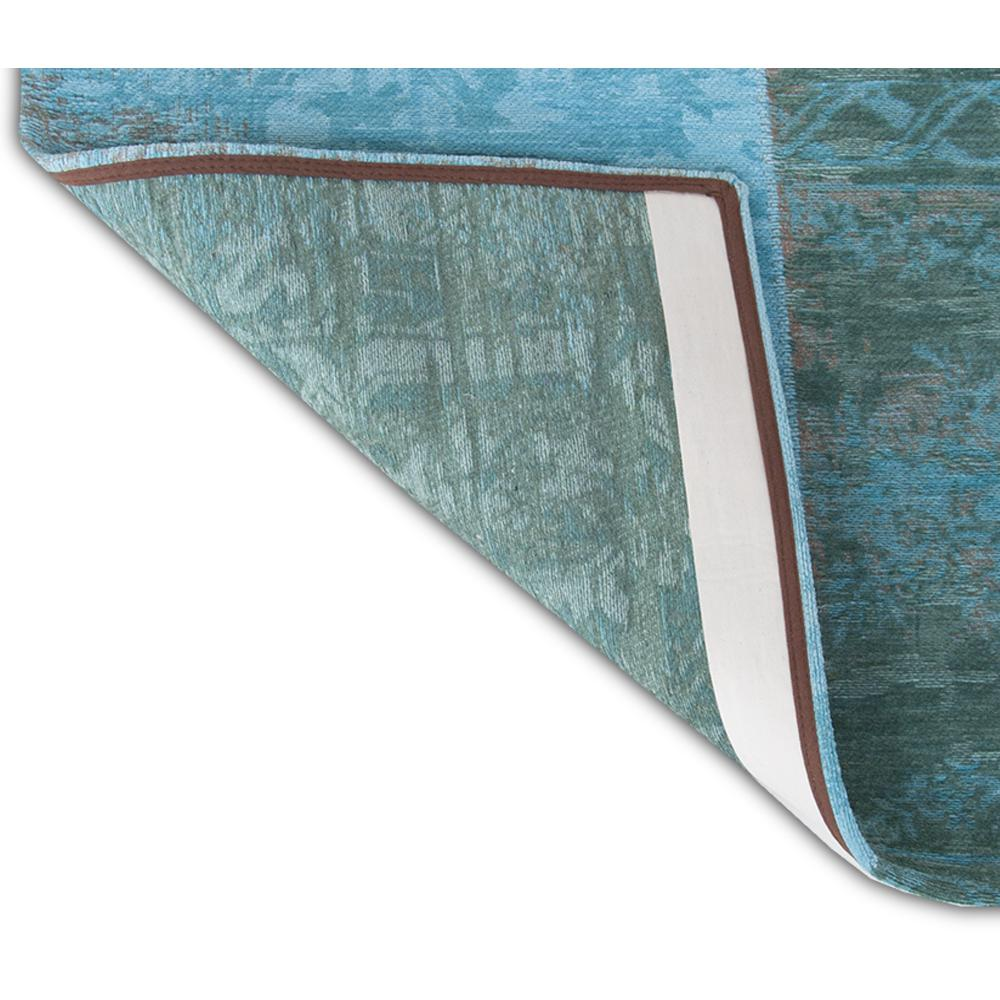 6' x 7'  Azur Light Blue Dark Blue and Red Patchwork Design Area Rug - 380569. Picture 1