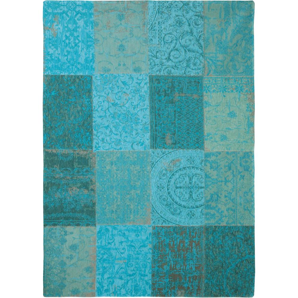 6' x 7'  Azur Light Blue Dark Blue and Red Patchwork Design Area Rug - 380569. Picture 2