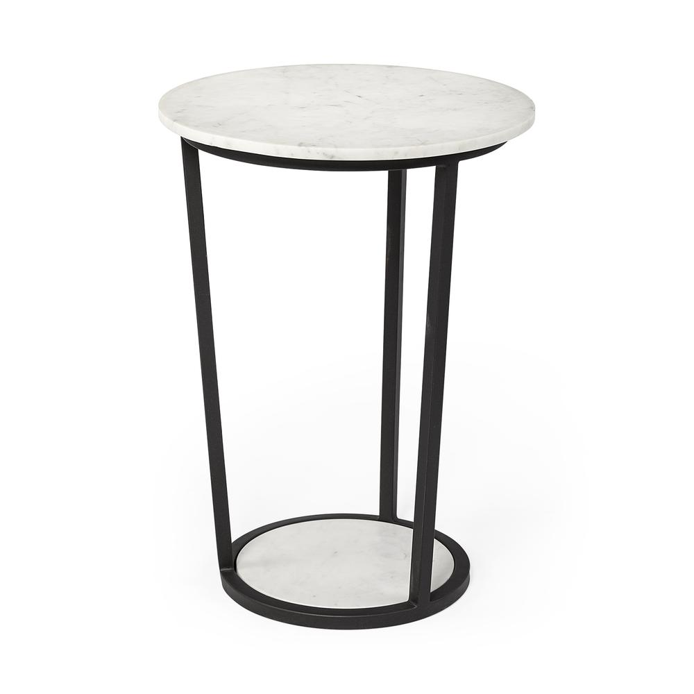 """18"""" Round White Marble Top Accent Table with Black Metal Frame - 380684. Picture 1"""