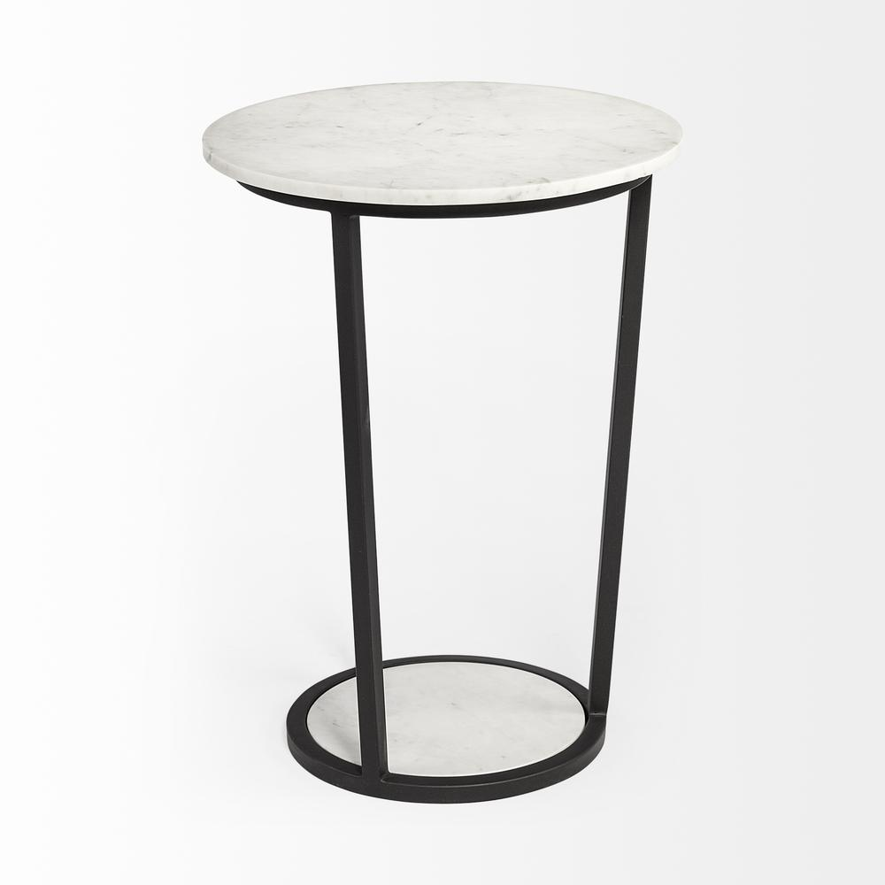 """18"""" Round White Marble Top Accent Table with Black Metal Frame - 380684. Picture 2"""